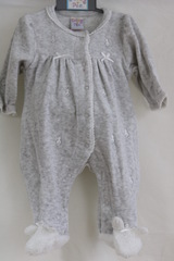 Grey Velour Babygrow with Bunnies 635
