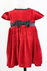 Red Velvet Dress with Bow  15823