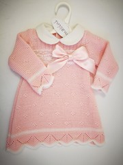Knitted Dress with Lace and Satin Bow