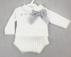 Knitted White 2pc shorts set with Grey bow 133