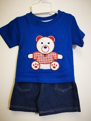 Teddy Bear Embroidered top & Jean shorts set