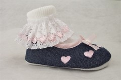 White TOT Ankle Socks with Pink  Lace Trim