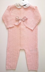 Knitted 1pc Pink Sleeper with Bow 17416