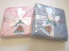 2pk Plain Bath Robes /Hooded Towels -  blue & white
