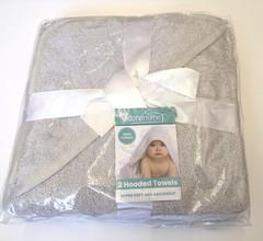 2pk Plain Bath Robes /Hooded Towels - per pk  Silver & White