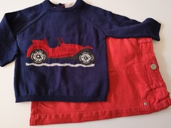 """Red Trouser with Navy & Red Jumper """"Car"""""""