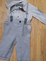Grey Shirt, Bow Tie,Braces and Grey Trouser Set 18434