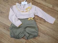 Moss Green Ruffle Bottom Shorts Set 4204