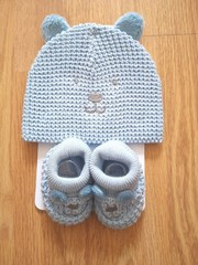 Cotton Hat & Bootee Set  0954