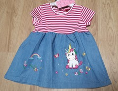 Unicorn Embroidered Striped Denin look Dress