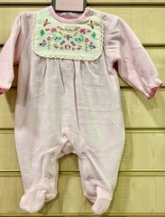 Pink  Velour Sleepsuit Embroidered Yoke 8497