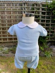 Cotton Knitted Shorts Set in Sky Blue 1090