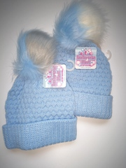 Ribbed Knitted Hat with 2 colour Pom Pom H601