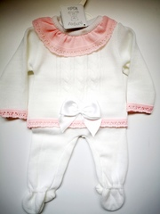 White with Pink Knitted Pram Suit 1344