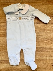 Smocked-Blue Velour Babygrow -Teddy 19022