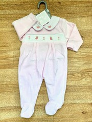 Pink Velour with Smock -Birds & Flowers 8652