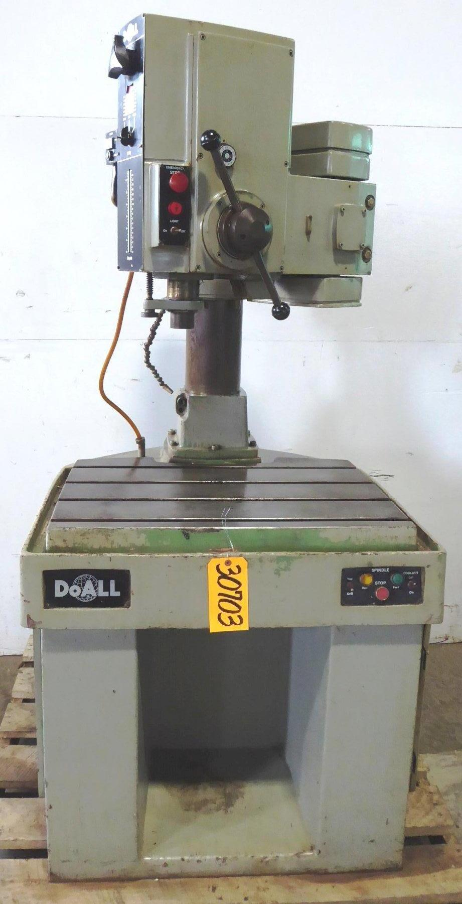 DoAll Radial Drill Model DTR-28, Articulating Arm, 90-3360 RPM, 4 MT, Power Elevation & Clamping, Nice