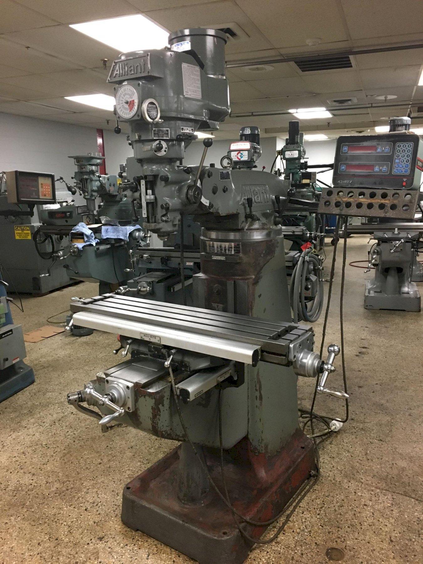 Alliant Model RT2 Variable Speed Vertical Mill, S/N 80312345.