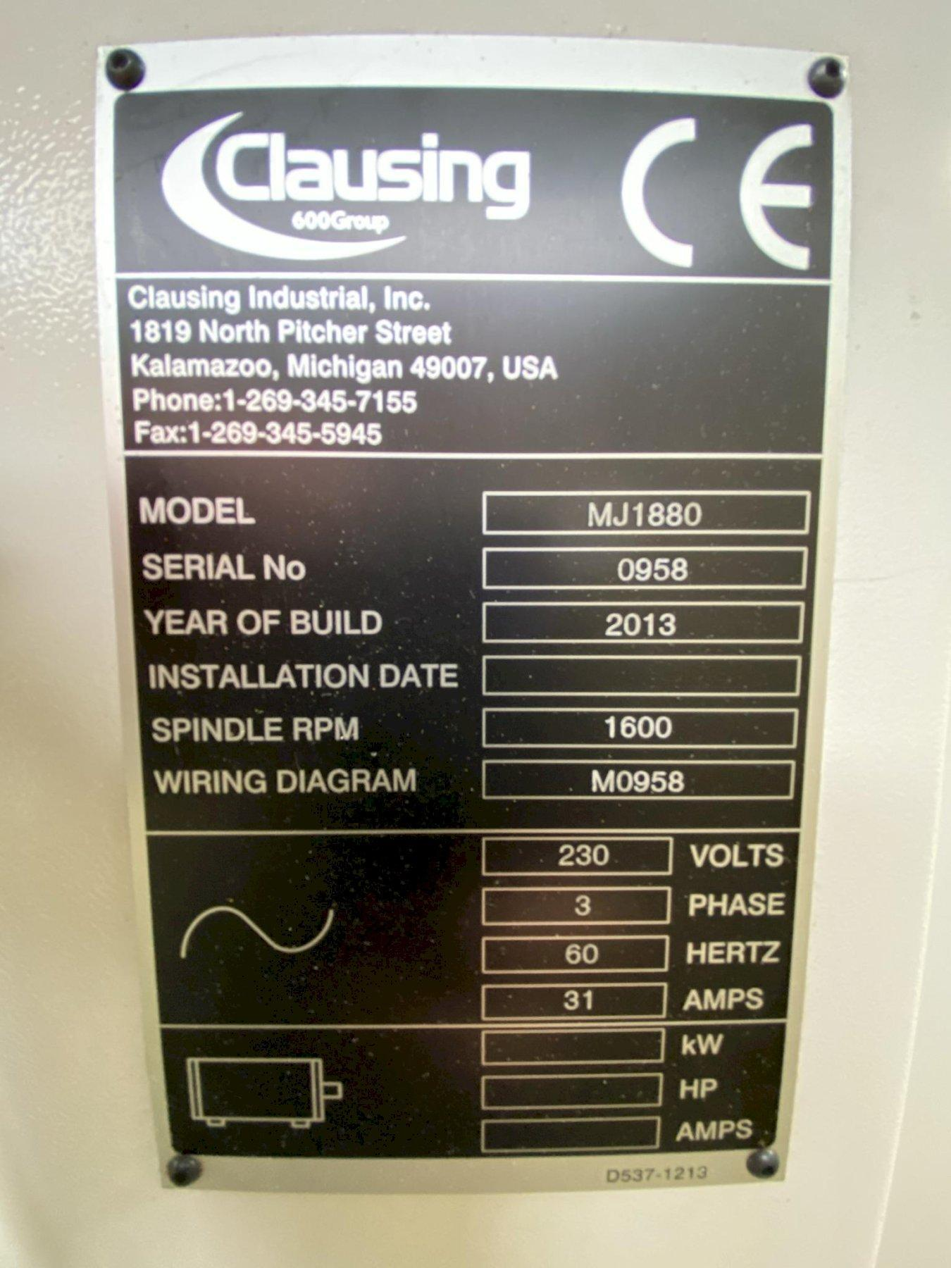 "USED CLAUSING 18"" X 80"" GAP BED ENGINE LATHE MODEL MJ1880, Year 2013, Stock# 10841"