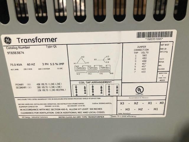 GE TRANSFORMER kVA 75