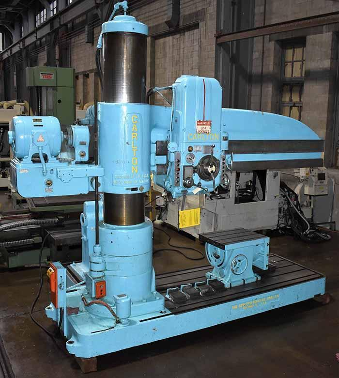 "8' x 19"" CARLTON RADIAL ARM DRILL, Model 4A, 8' Arm Length, 19"" Column, Power Clamping, Power Elevation of Arm, Rapid Power Traverse of Head, L-Base Extension, Universal Box Table, Add-on Trunnion Table, Low Use from Aerospace."