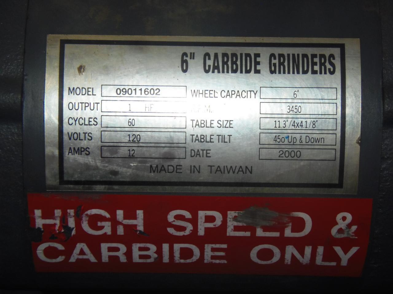 """6"""" BALDOR CARBIDE GRINDER, PEDESTAL, 2000"""