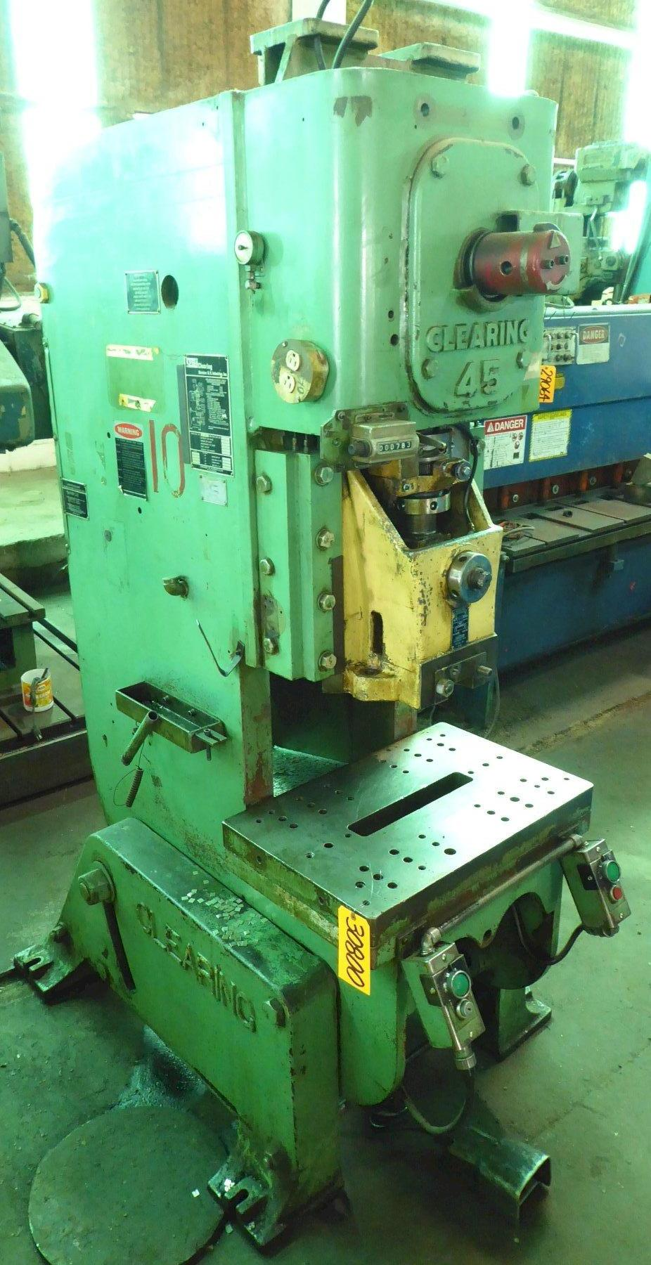 45 Ton USI Clearing Torq-Pac O.B.I. Press, 4″ Str., 12″ S.H., 100 SPM, A.C., Just Removed From Service