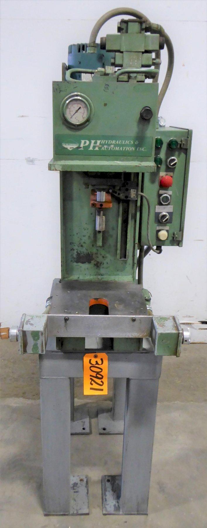 "2 Ton PH Hydraulics Gap Frame Hydraulic Press PHN-2, 6"" Str., 12"" D.L., 12"" x 10 Bed, 2 HP"