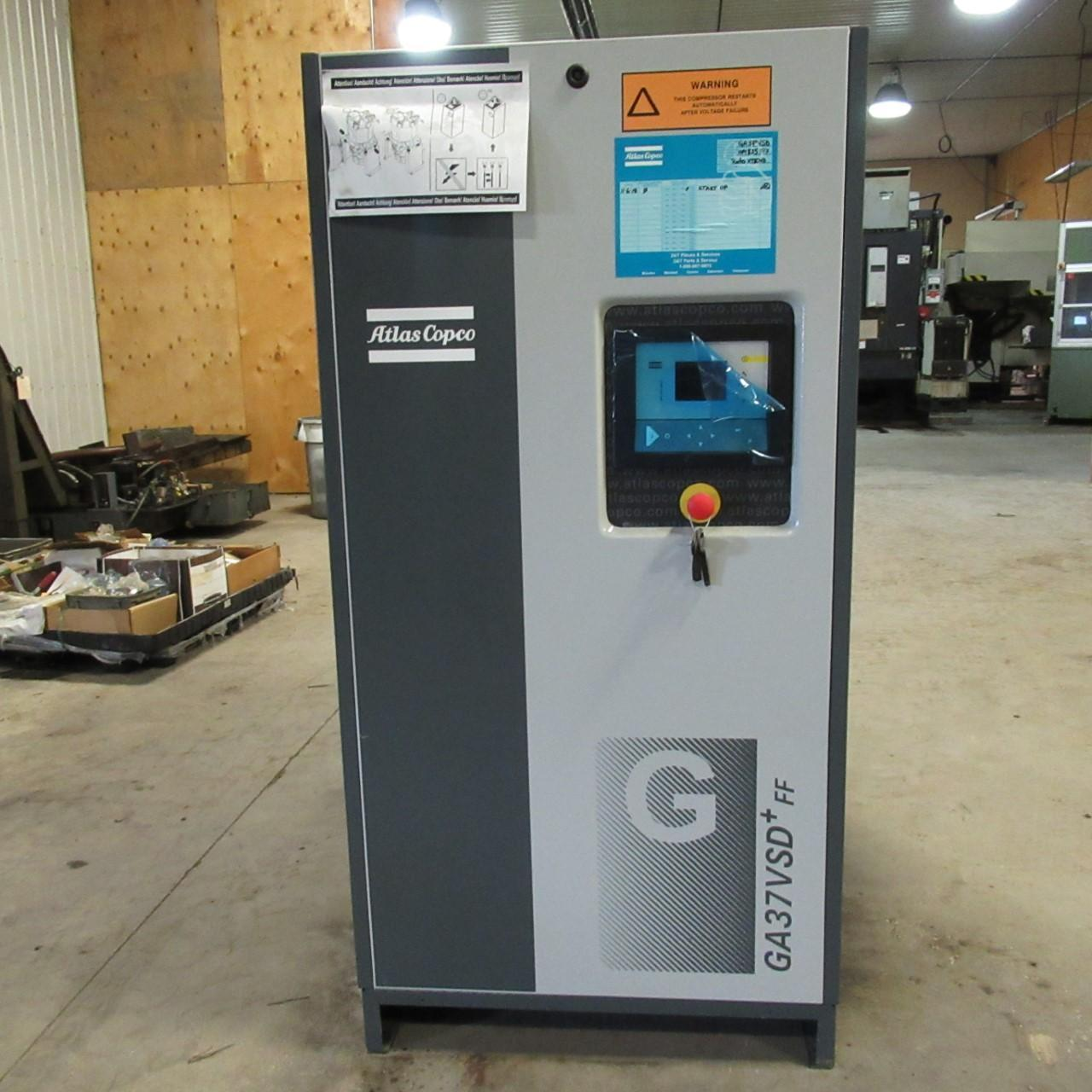 Atlas Copco GA37VSD + FF  50 HP Compressor Year 2018