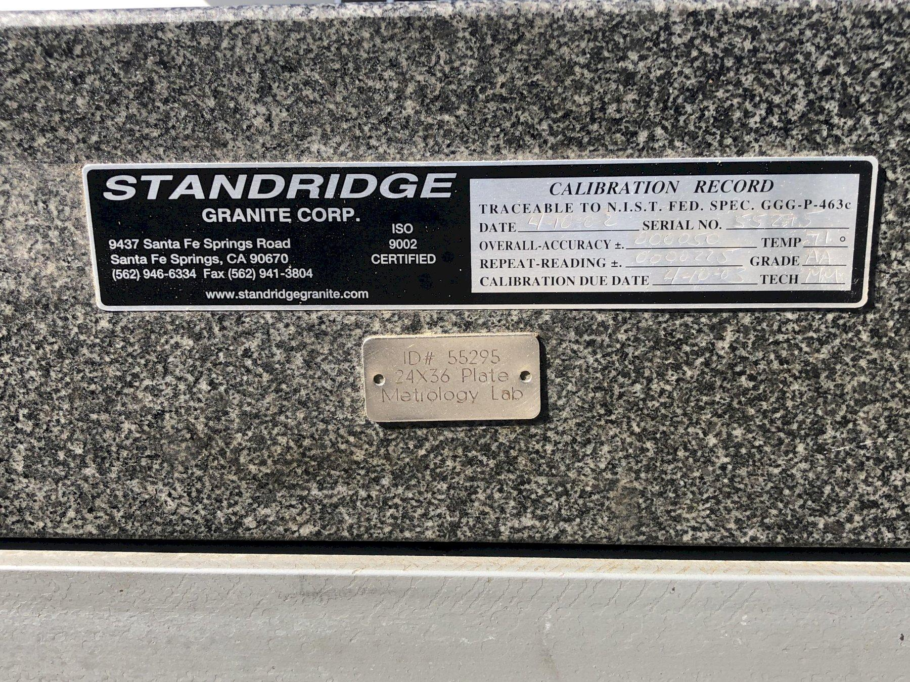 "Standridge Surface Granite Plate 36"" x 24"" x 6"" with Stand, Grade AA."