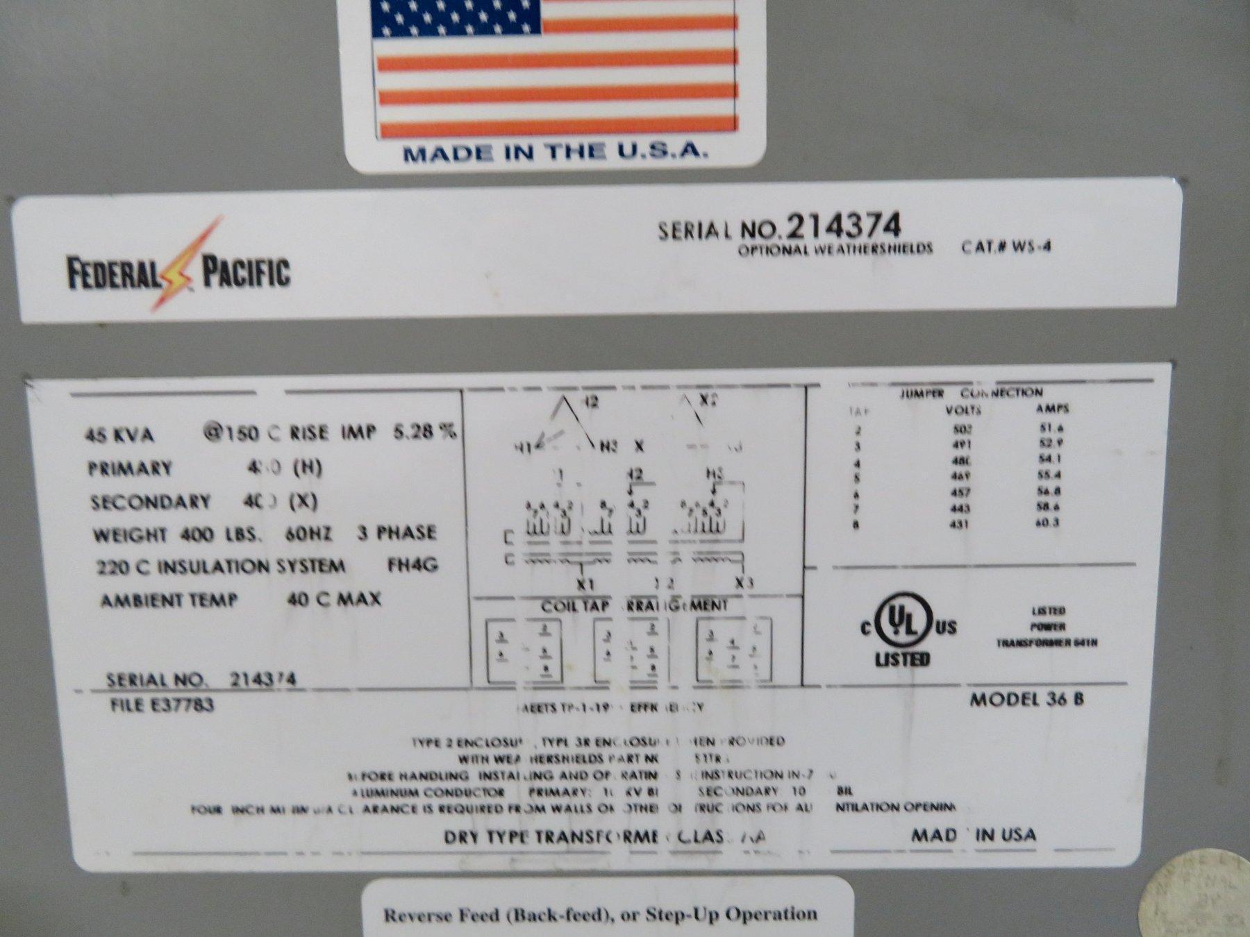 Federal Pacific Used 36B 3 Phase Transformer, 45KVA, 460V, 400V