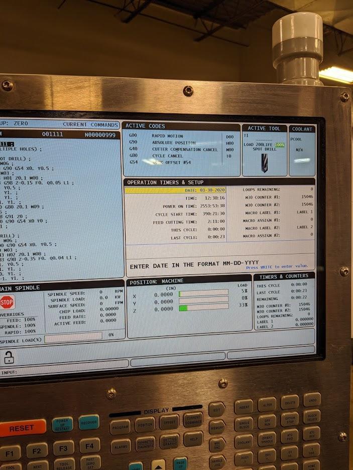 "2016 Haas TM3P Vertical Machining Center, 40"" x 20"""