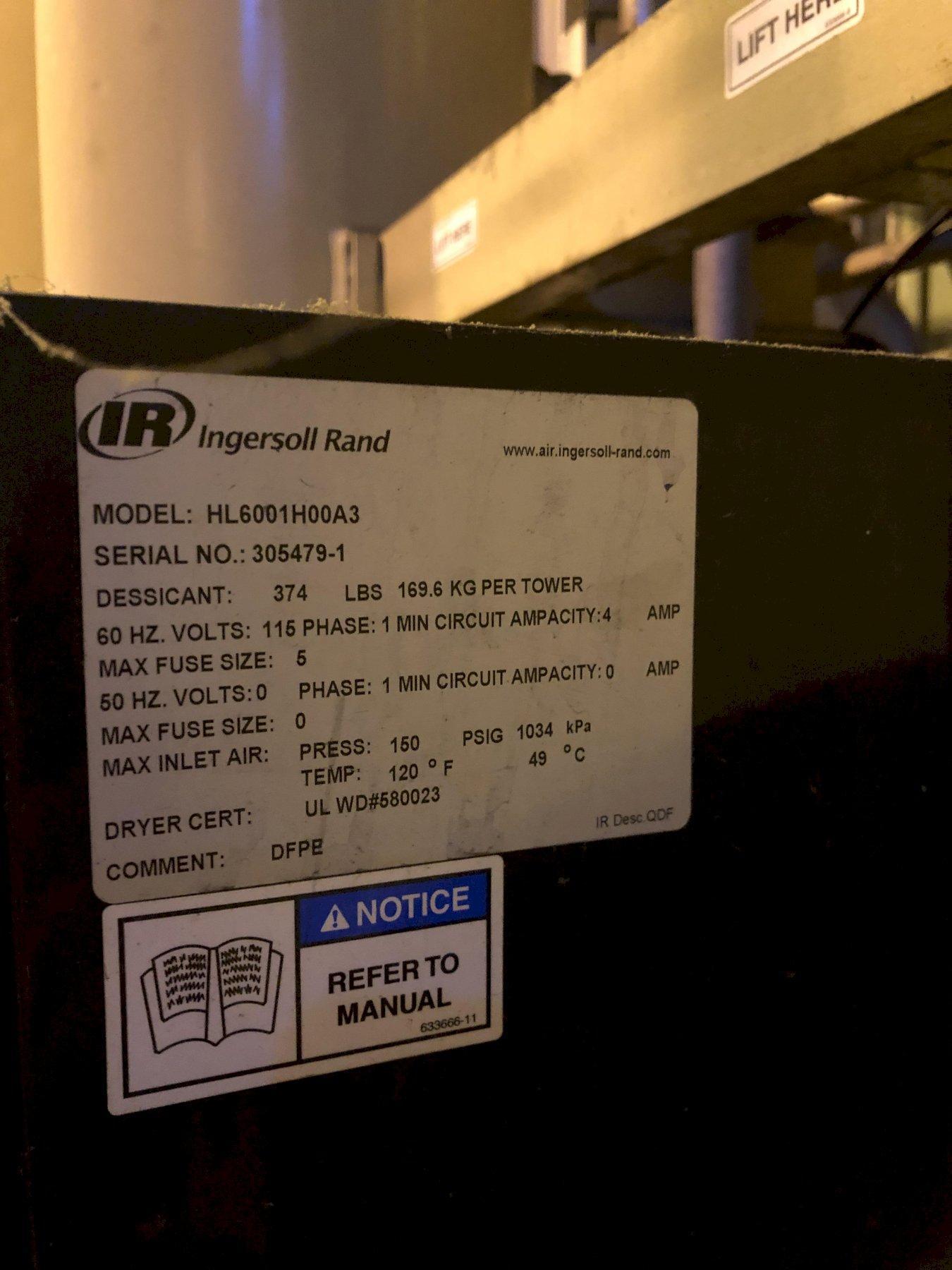 Ingersol Rand model h6001h00a3 desiccant air dryer s/n 305479-1
