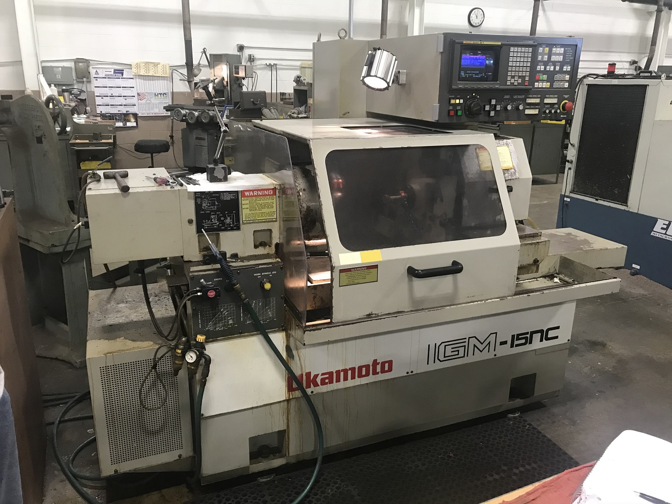 "Okamoto IGM-15NC CNC Internal Grinder, Fanuc 18iT, 24"" Swing, 6"" Bore, 5"" Stroke, 20"" Long. Travel, Dresser, 5°-15° Workhead Swivel, 3-Jaw Air Chuck, (2) ID Spindle (20k/40k), Clnt w/Mag Sep, 2000"