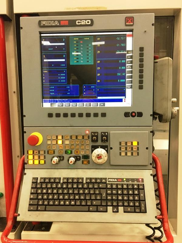 """FIDIA KR-214 5-AXIS, Fidia C20 CNC Controls, X=106"""",Y=44"""",Z=55"""", A&B Axis Head, 79"""" x 79"""" Contouring Rotary Table, 45HP, 24000 RPM, New 2005."""