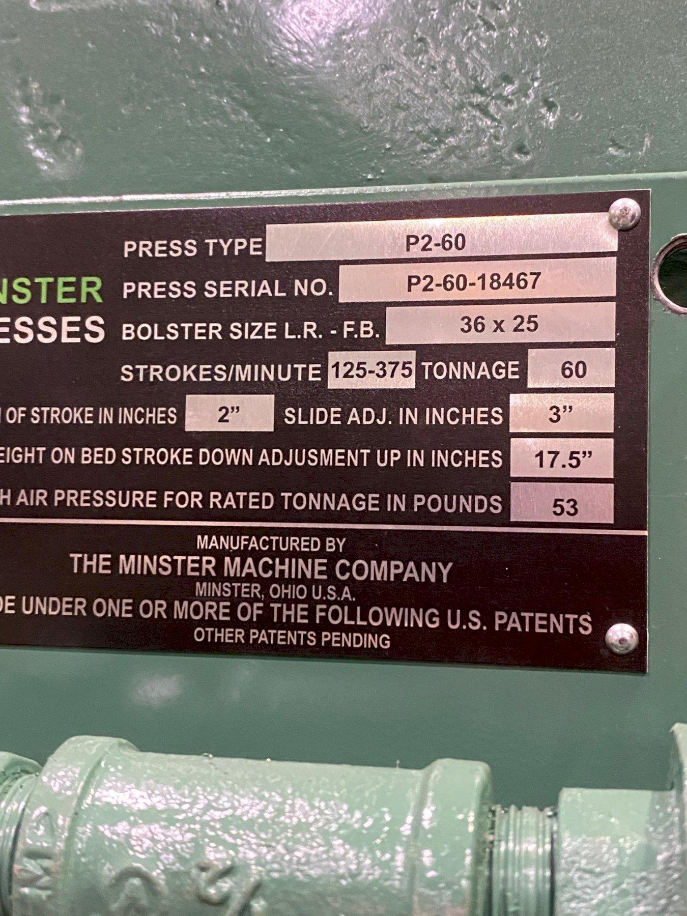 "REMANUFACTURED 60 TON MINSTER P2-60 ""PIECEMAKER"" STRAIGHT SIDE PRESS"
