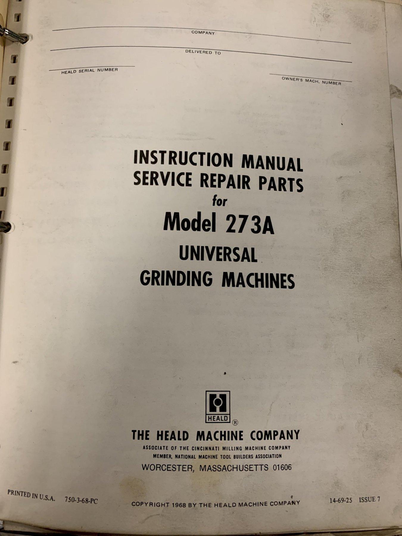 HEALD No. 273A Universal Internal Grinder, S/N 44310.