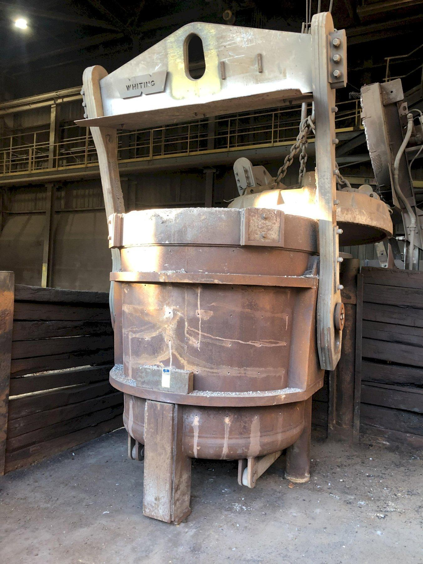 "2- available Whiting non geared 34 ton bottom pour ladle with bail and pouring mechanism, 65"" diameter x 69"" tall, priced each"