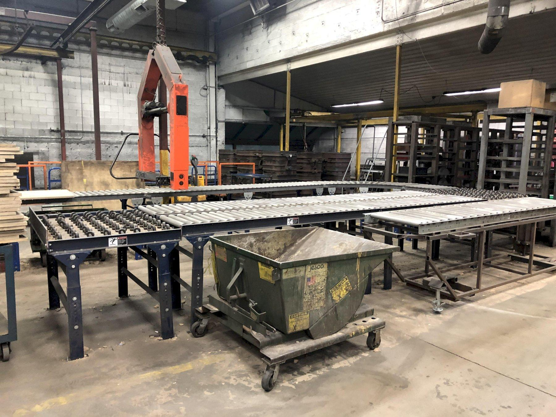 """COMPLETE NO BAKE SYSTEM NEW 2016 WITH SAND HOPPER AND SUPPORTS, PALMER ELECTRIC SAND HEATER WITH CONTROLS S/N H304, PALMER M200 MIXER S/N M433, PALMER PUMP SYSTEM S/N PS2453, PALMER 36"""" X 60"""" COMPACTION TABLE S/N V512, 2- AIR OPERATED 20"""" X 30"""" ROLLOVERS, ROLLER CONVEYOR AND QUIPTEC MODEL QSR2K MOLD HANDLER S/N 45-4191 WITH BUDGIT 1 TON ELECTRIC HOIST 3 WAY PENDENT CONTROLS"""