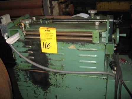 "GAUER No. 6H20NC 20"" THRU-FEED COIL STRIP EDGE DEBURRING MACHINE   Our stock number: 108538"