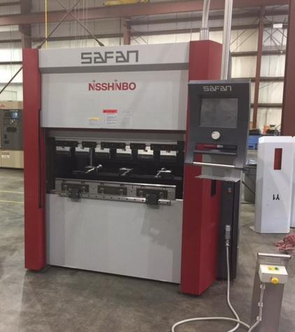 "25 Ton x 48"" NISSHINBO SAFAN Servo Controlled Brake Press, TS1 CNC Controls, X & R Axis Back Gauge, Y Ram"