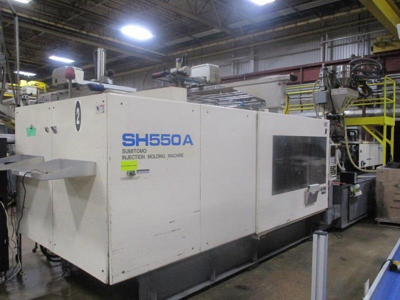 Sumitomo Used SH550A-C3750U Injection Molding Machine, 610 US ton, Yr. 1997, 100 oz.
