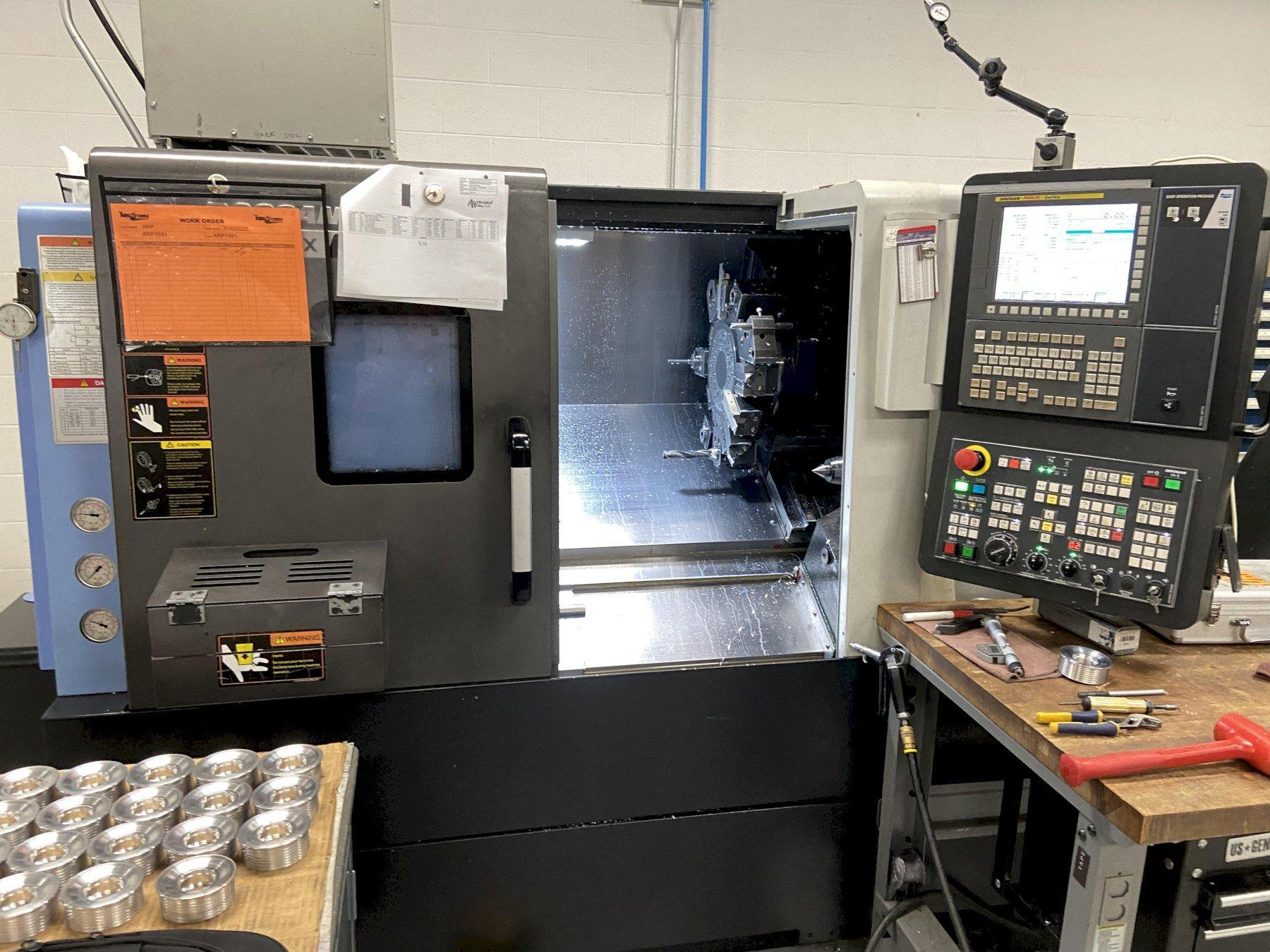"Doosan Lynx 2100LMB CNC Lathe, Fanuc i, 8"" Chuck, 23.6"" Swing, 20"" Cut Length, 2.46"" Bar Cap, Parts Catcher, Live Milling, Prog Tailstock, C/C, Low Hrs, 2016"