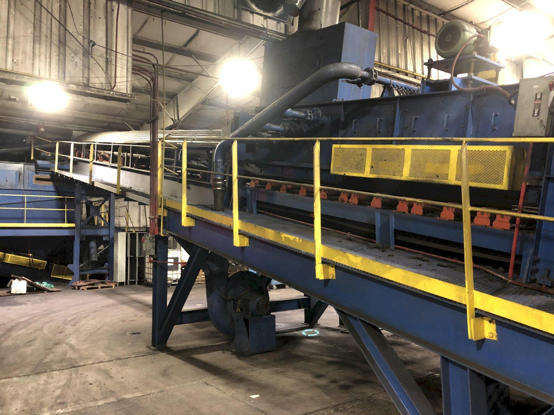 """2013 MACO 36"""" X APPROX. 80' 7 DEGREE INCLINE BELT CONVEYOR WITH 10HP DRIVE AND MACO EVAPORATIVE SAND COOLING AND MOISTURE ADDITION SYSTEM WITH 20 HP AERATOR AND WITH BLOWER AND CONTROLS"""