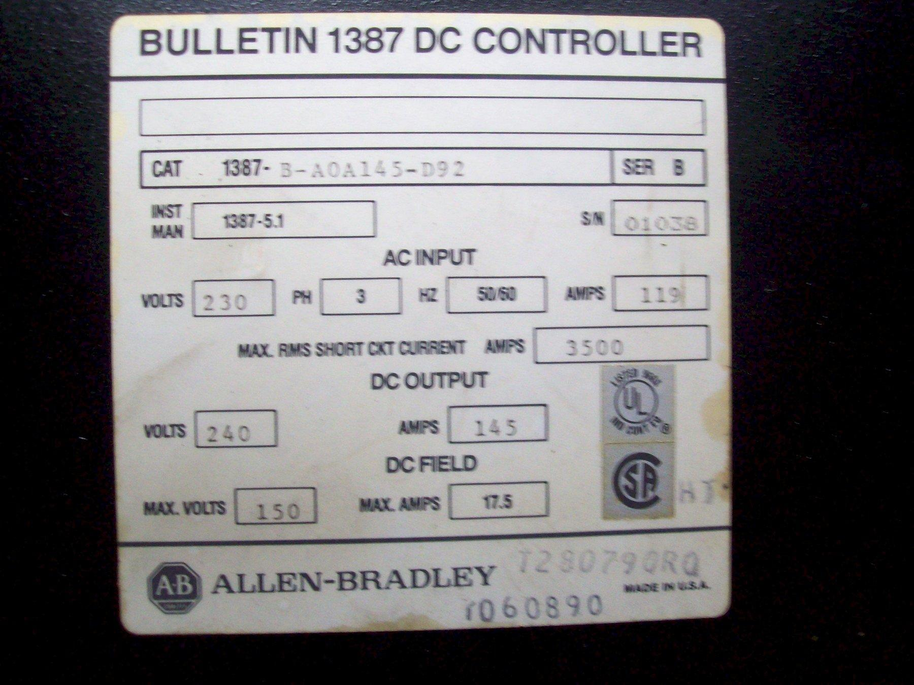 ALLEN BRADLEY 1387 HIGH PERFORMANCE DC DRIVE B-A0A145-D92 SERIES B