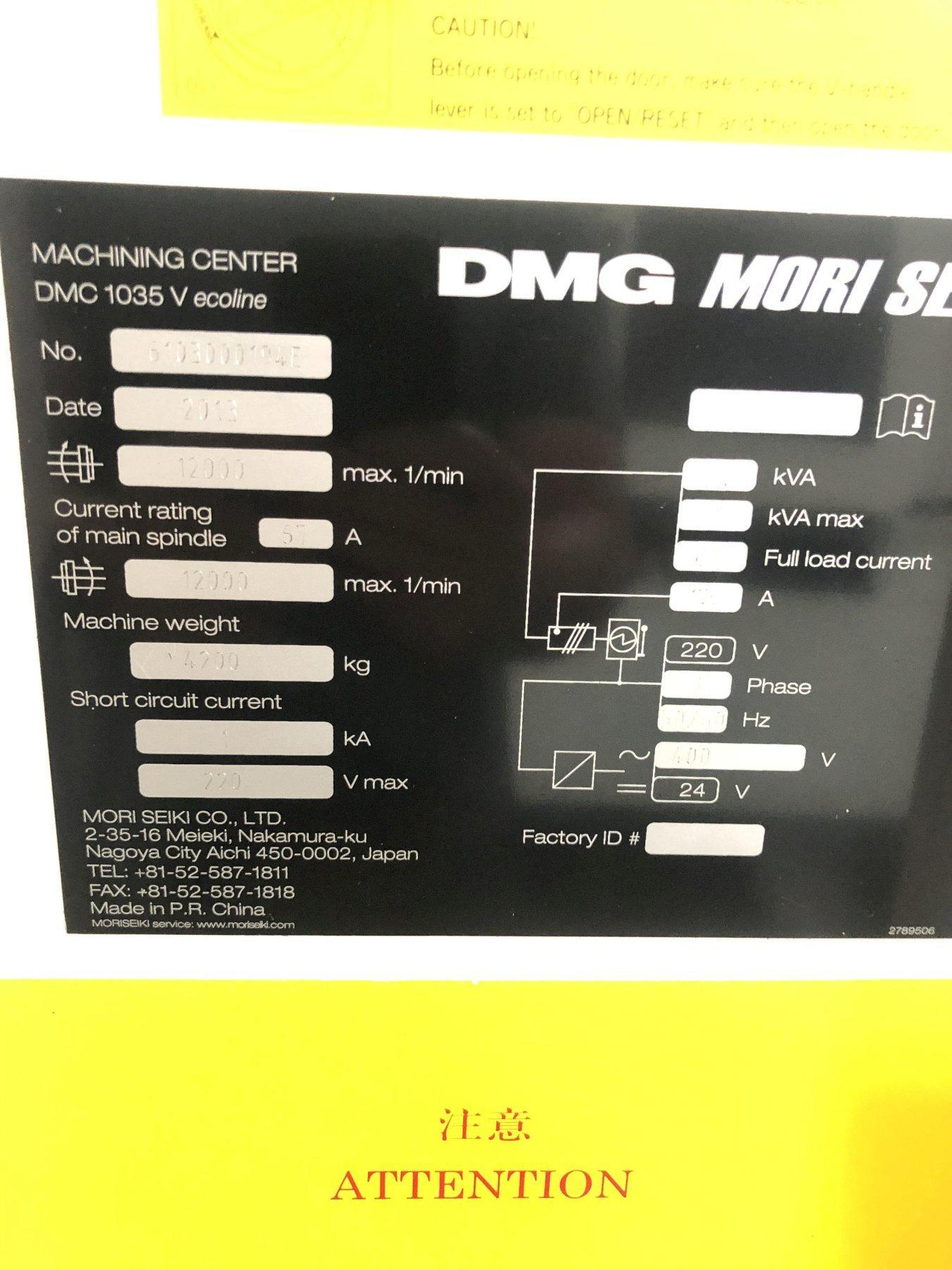 Mori Seiki DMC 1035 Eco VMC 2013 with Mori Mapps Control, 12,000 RPM Spindle, and Jorgensen Chip Conveyor.