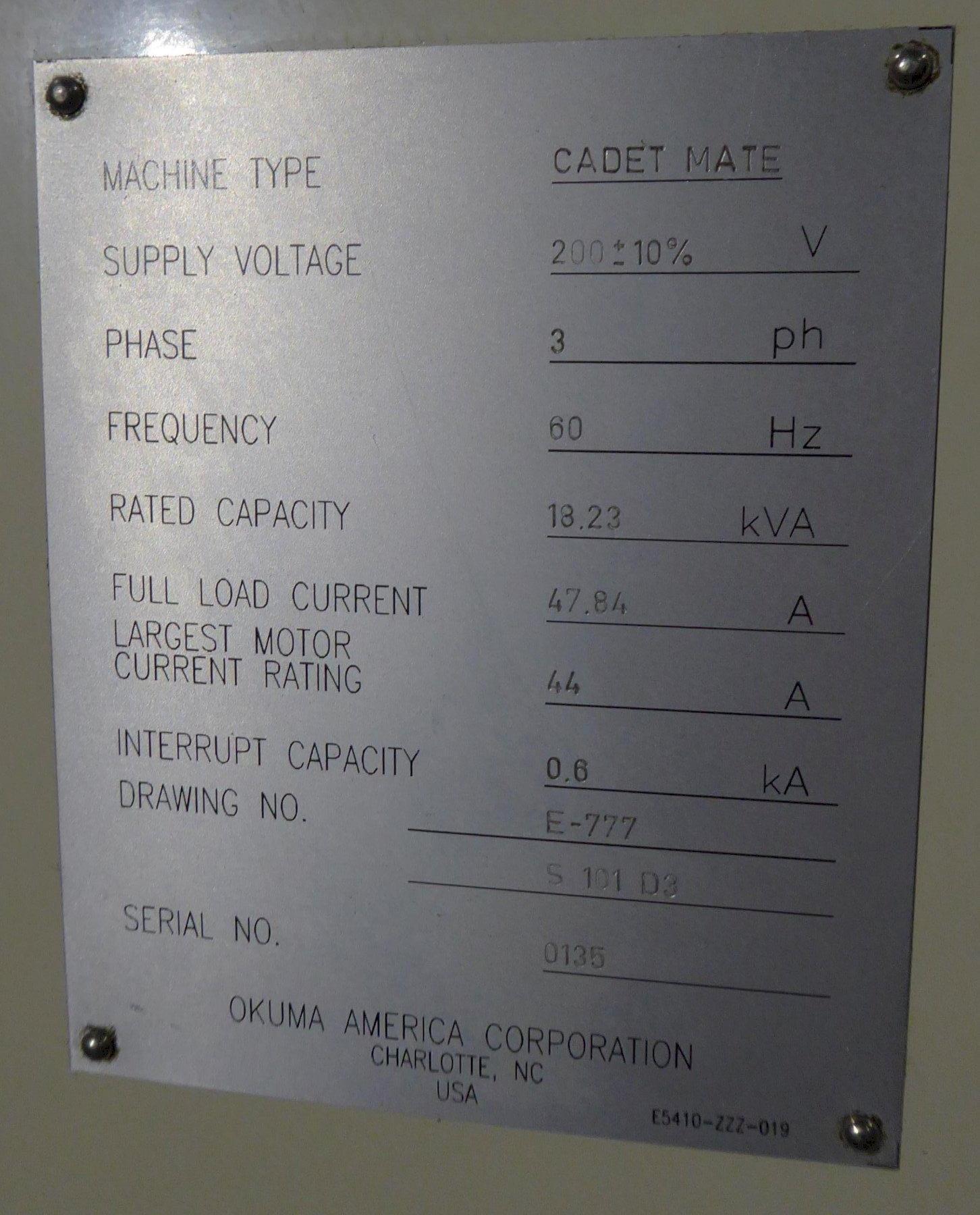 """Okuma Cadet Mate Vertical Machining Center, 40""""X, 20""""Y, 20""""Z, 8000 RPM, OSP 700M Control"""