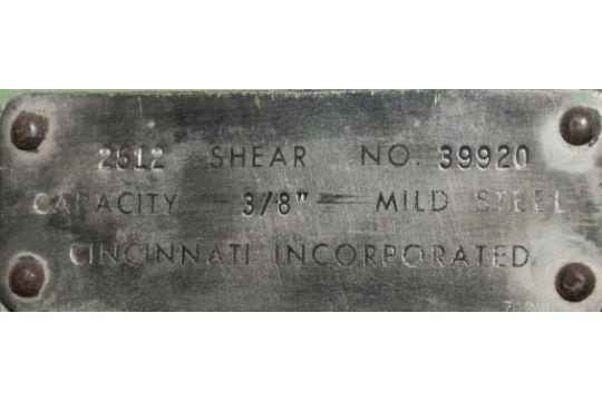 "12' x .375"" Cincinnati Mechanical Squaring Shear Mdl. 2512, w/stacking Conveyor"