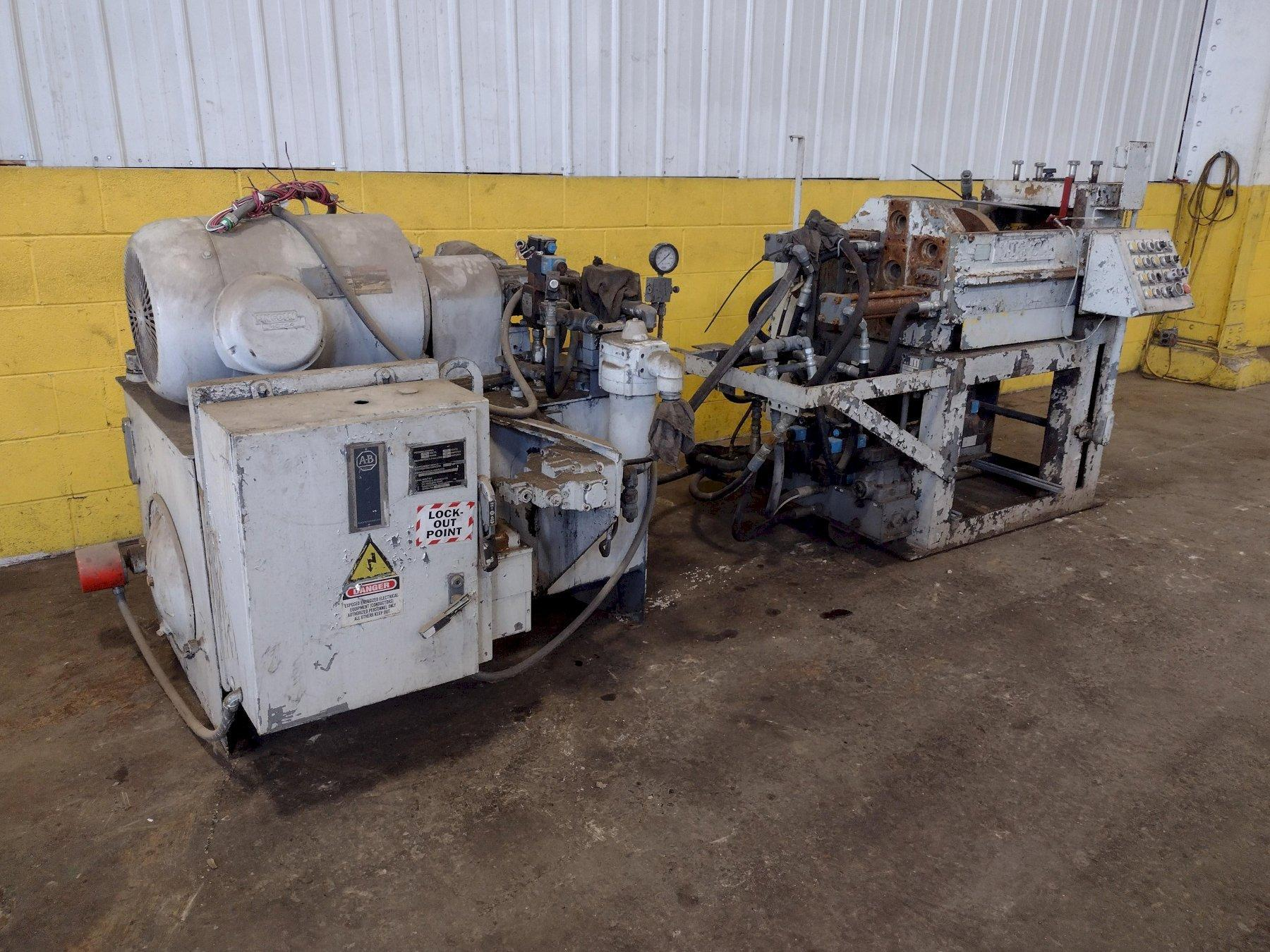 25,000 LB. MITCHELL MODEL #PP550 (4) DIE IN LINE TUBULAR CONVEYOR ROLL SHAFT END FORMING MACHINE: STOCK #15297