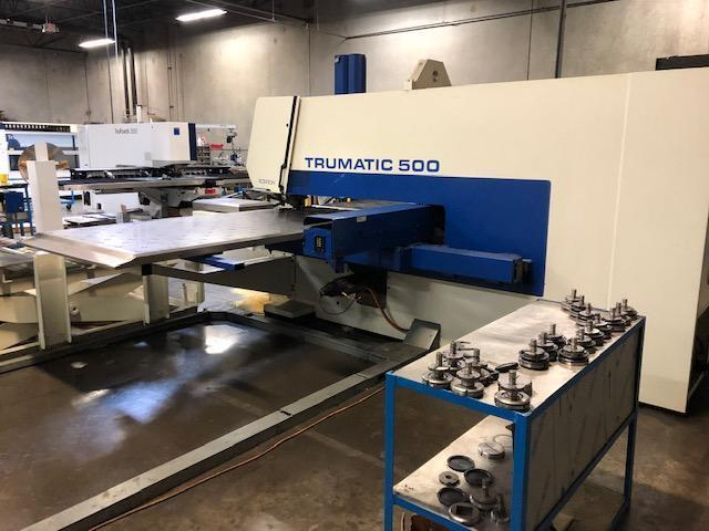 """1999 Trumpf TC500R CNC Punch, 50"""" x 100"""" Travels, 19 Rail Mounted Stations, Auto Load/Unload System"""